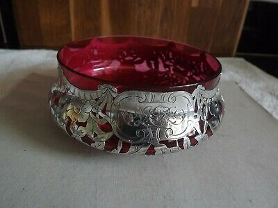 American (Gorham) Sterling Silver Dish - Red Cranberry Glass Liner