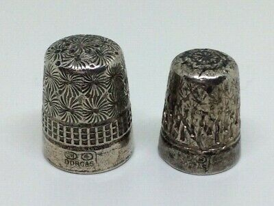 Lovely Antique Vintage Pair Of Charles Horner Silver Thimbles - Two Sizes.