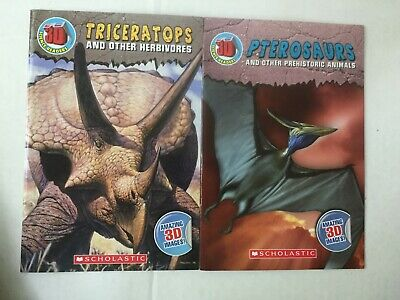 Lot of 2 BRAND NEW 3D Science Readers Scholastic Triceratops and Pterosaurs