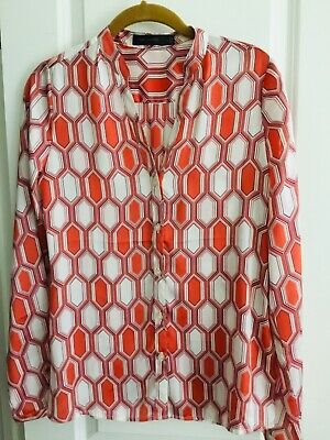 NWOT Women's The Limited Blouse Top Long Sleeve Orange Print Sz Small