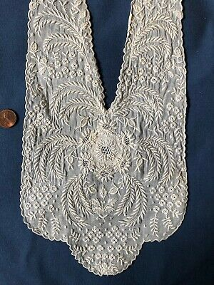 Vintage white on white embroidered drawnwork collar neck lace COSTUME SEW CRAFT