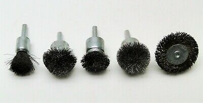 "5 Pc Assorted Usa Military Surplus Rotary End Wire Brush Lot 1/4"" Shank"