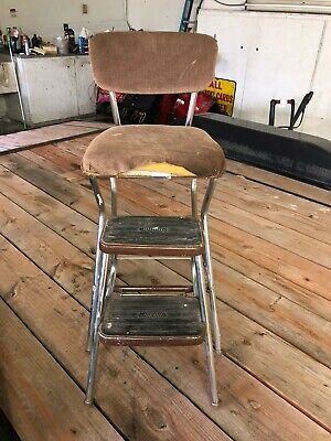 Brilliant Vtg Cosco Yellow Metal Vinyl Kitchen Step Stool Chair Ocoug Best Dining Table And Chair Ideas Images Ocougorg
