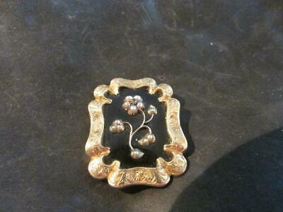 Fabulous Victorian 9ct Gold, Enamel & Seed Pearl Forget Me Not Brooch, 1840