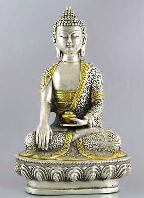 Collect Qianlong Years Tibet Silver Gold-Plated Carve Buddha Bring Lucky Statue