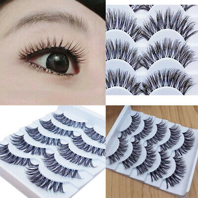 Gracious Makeup Handmade 5Pairs Natural False Eyelashes Extension Exquisite ERL0