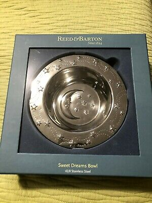 Reed & Barton Baby Bowl Sweet Dreams Moon Stars 18/8 Stainless Steel  New