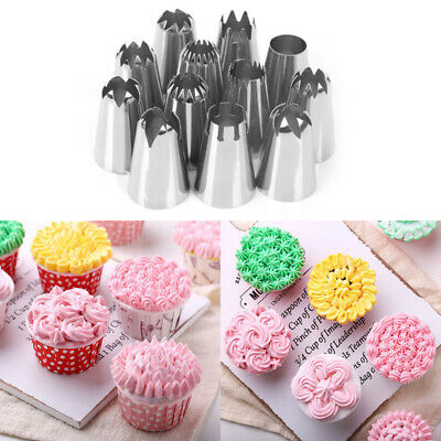 8/12Pcs Icing Piping Nozzles Tips Cake Sugarcraft Pastry Decor Baking Tools Kits
