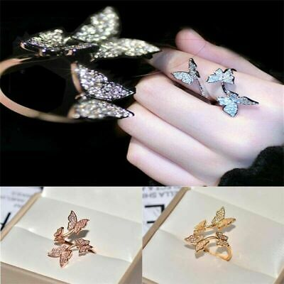 Women Unique Active Butterfly Cocktail Adjustable Open Ring 925 Silver Jewelry