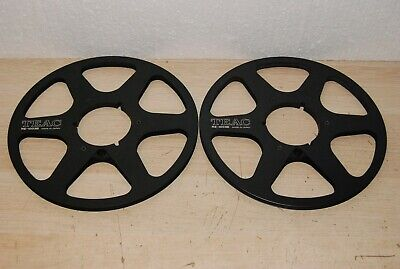 Vintage Pair of Teac RE-1003B Black 10.5'' Metal Take up Reel 1/4""