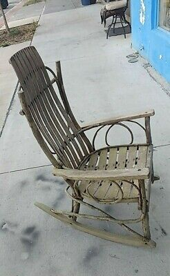 Vintage Antique  AMISH HAND MADE BENTWOOD HICKORY AND OAK ROCKING CHAIR