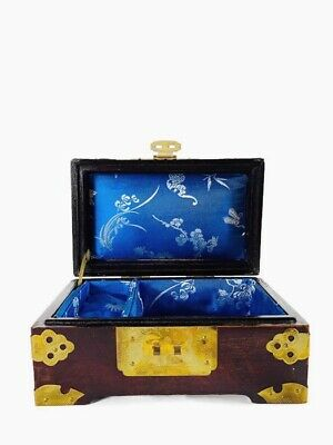 Vintage Asian Chinese Mother Of Pearl Inlay Brass Rosewood Lacquer Jewelry Box
