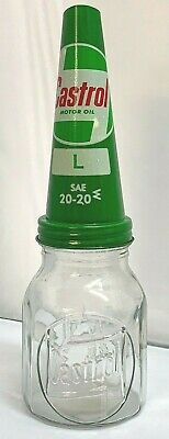 Old Style - 1 Pint Glass Castrol SAE 20-20 Oil Bottle & Metal Pourer.