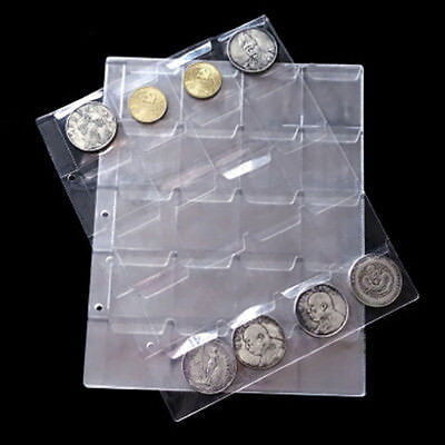 New1 Sheet 20 Pockets Plastic Coin Holders Storage Collection Money Album Case