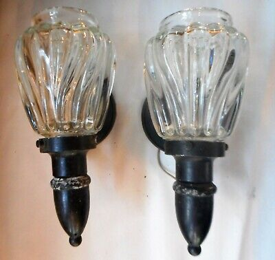 Pair Vintage Brass Art Nouveau Wall Sconces ca 1940s with Heavy Glass Shade