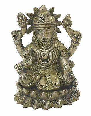 Lakshmi In Kamal Collectible Idol Handicrafts Hindu'S Gift Home Religious Brass