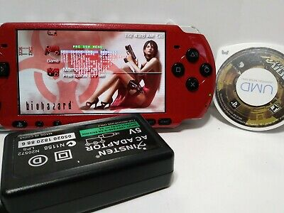 Red and Black Modded Sony PSP-3000 Handheld System - Piano Black