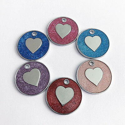 Qa_ Cute Cat Dog Name Tags Glitter Colorful Heart Pattern Pet Collar Pendant N