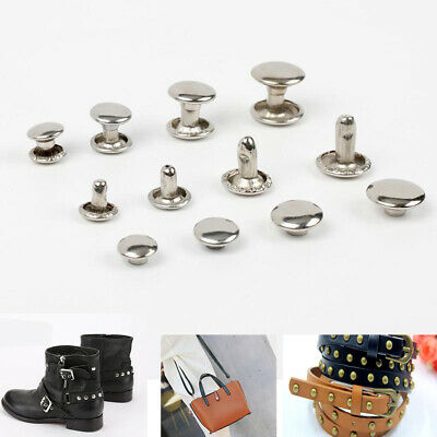 50pcs Round Head Double Cap Rivet Stud Collision Metal Spike Rock Leather Craft-