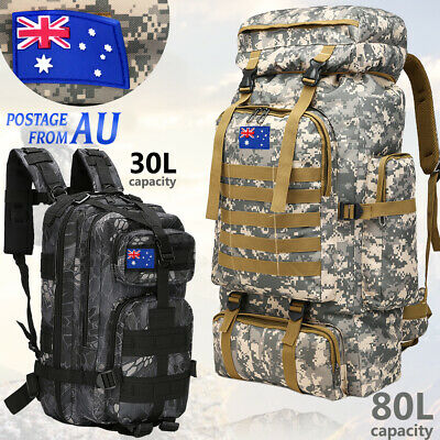 30L/80L Camping Hiking Bag Army Military Tactical Backpack Rucksack Sport travel