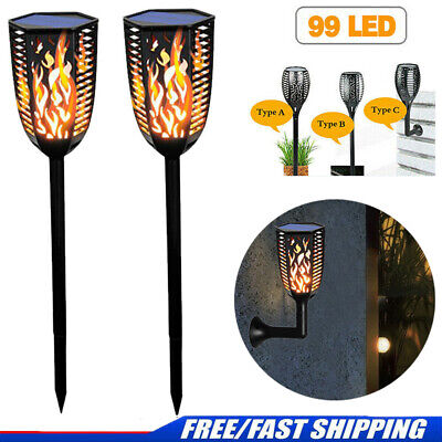 4Pack 99 LED Flickering Landscape Lamp Dancing Flame Solar Torch Garden Lights