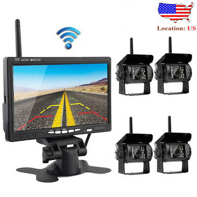 "Wireless IR Rear View Back up Camera System + 7"" Monitor For Truck RV Car 12-24V"