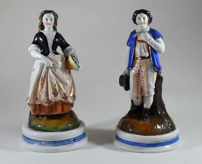 Pair Of Beautiful Antique Hand Painted German Glazed Porcelain Figures