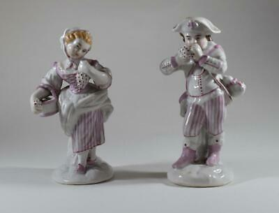 Pair Of Stunning Antique Hand Painted German Glazed Porcelain Figures