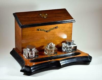 Antique Mahogany Desk Letter Stand Set With Inkwells
