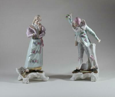 Pair Of 19Th Century Hand Painted German Glazed Porcelain Figures