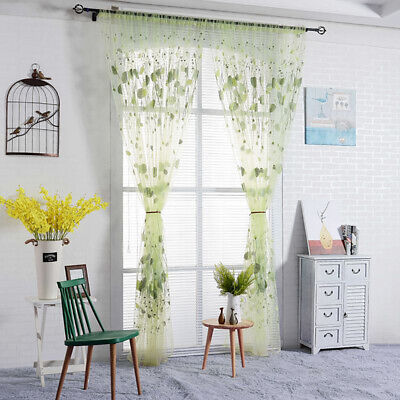 1pcs Window Flower Pattern Living Room Clear Tulle Curtains Decoration 8C
