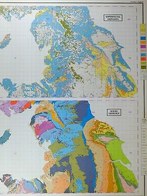 Vintage Large Map Britain Northern England Superficial Deposits Solid Geology