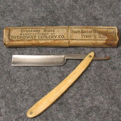 "Broadway Cutlery Co Germany 6"" Straight Razor Real Bone Handles w/ Box"
