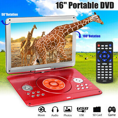 16'' Portable DVD Player Dual HD CD TV Player 16:9 LCD Widescreen Card Reader US
