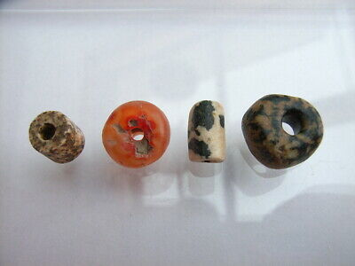 4 Ancient Neolithic Granite, Carnelian Beads, Stone Age, RARE !!  TOP !!