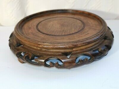 Oriental Chinese Carved Pierced Wooden Footed Vase Stand Base Across