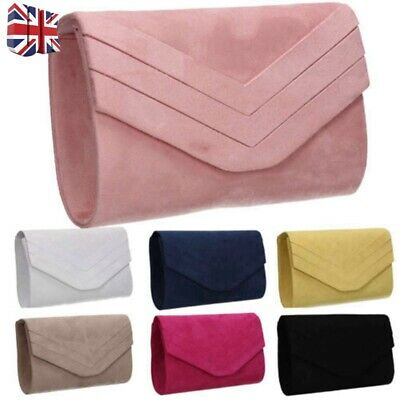 6f8acf8175 Womens Faux Suede Clutch Bag With Chains Envelope Ladies Evening Party Prom