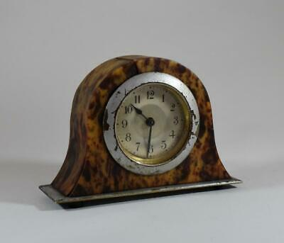 ART DECO 1920's BAKELITE FAUX SHELL WIND UP MINIATURE MANTLE CLOCK