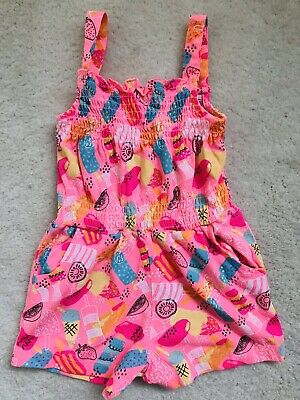 Girls Pink Multi Patterned Short Playsuit Age 2-3 Years From Debenhams