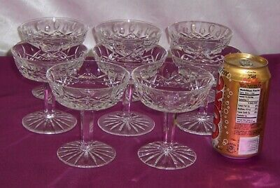 Waterford Ireland 8 Brilliant Cut Glass Champagne Sherbets Lismore Pattern