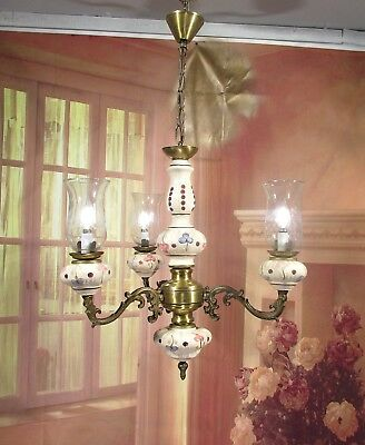 Antique Vintage Chandelier Italian Porcelain 3 Lt Glass Hurricane Shade
