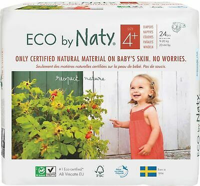 Eco by Naty Size 4 + Nappies, Baby Nappies 24 Per Pack
