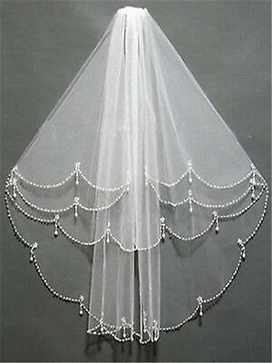 New 2-Layer White/Ivory Elbow Length Beads Edge Wedding Bridal Veil With Comb