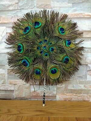 Antique Feather FAN Victorian Peacock 19th Century Vintage Art Deco