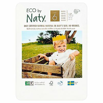 Naty Nappies XL Size 6 Junior, Toddler Size 6 Nappies Eco XLARGE 17 Per Pack