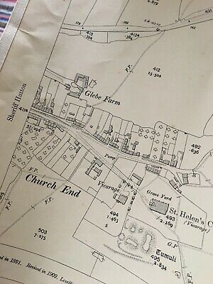 1911 Ordnance Survey Map Plan Sheriff Hutton Carr 2 Church End History FRAMEABLE