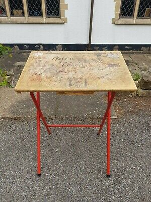 A Vintage Retro Folding School Desk with Graffiti & Red Legs Great Prop Display