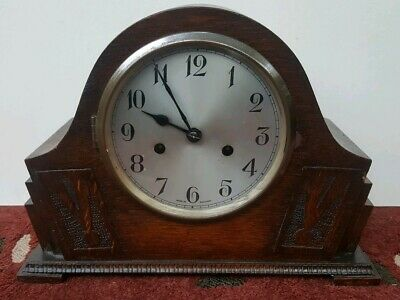 Vintage Art Deco Wooden two hole MANTLE CLOCK Spares/Repairs