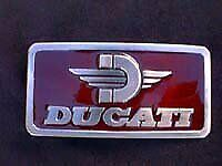 New Old Stock Vintage Ducati Pewter Style Metal Belt Buckle Made In Usa