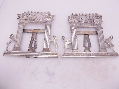 Solid silver pair of antique Egyptian revival picture frames, signed Robert 84